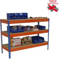 MESA DE TRABAJO SIMONWORK BASIC 3 901845-3 AZUL/NARANJA/MADERA 900x1800x450mm