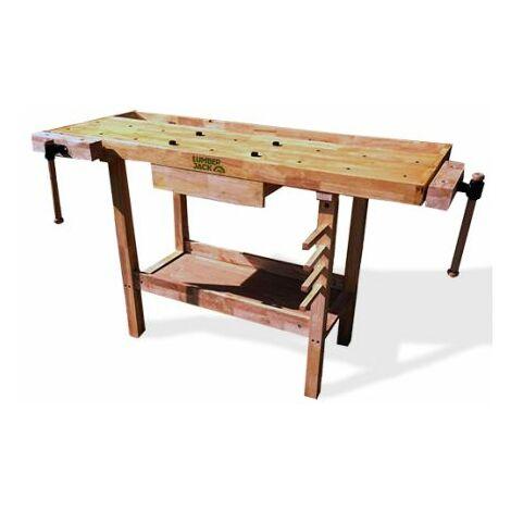 Lumberjack 1 Drawer Heavy Duty Woodworking Bench 2 Vice