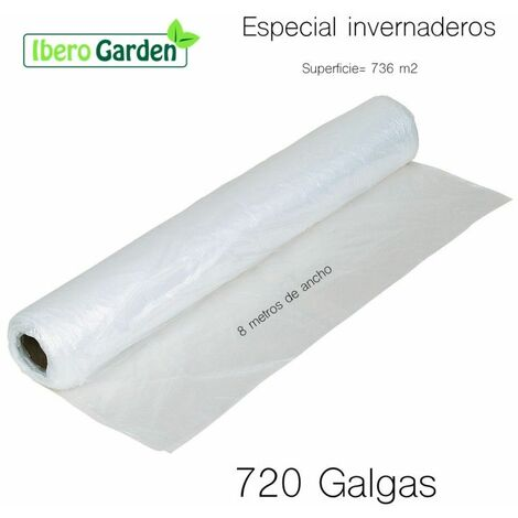 Plástico Invernadero 720 Galgas De 8 Metros De Ancho ( 736 M2 )