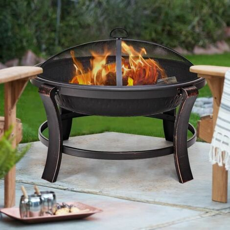 Foyer avec étincelles protection-Un Panier brasero barbecue feu cheminée-Ø 80//Acier
