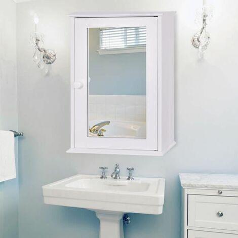Costway Armoire Murale Salle De Bain Placard De Rangement Toilettes Avec Miroir Meuble De Rangement Avec Etageres A Hauteur Reglable 34 X 15 X 53 Cm Blanc Hw58776