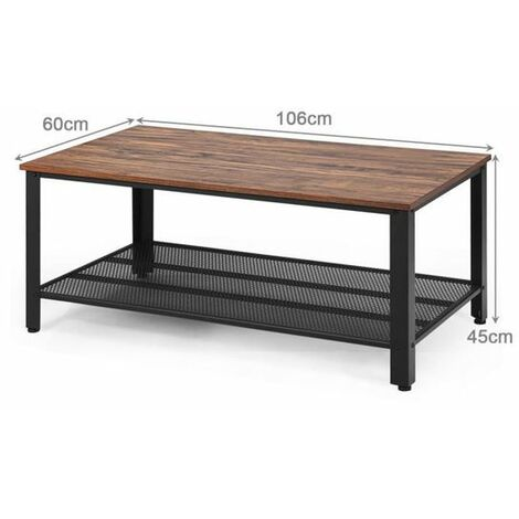 Costway Table Basse Industrielle,Table de Salon Vintage,Bout de Canap/é Moderne en Bois+M/étal avec 2 Niveaux de Rangement,4 Pieds Ajustables pour Salon,Bureau 106 x 60 x 45CM