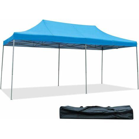 COSTWAY Tonnelle de Jardin 3x6M Tente Auvent Pliante avec Piquet de Terre en Fer,Sac de Transport en Tissu Oxford pour Fête Bleu
