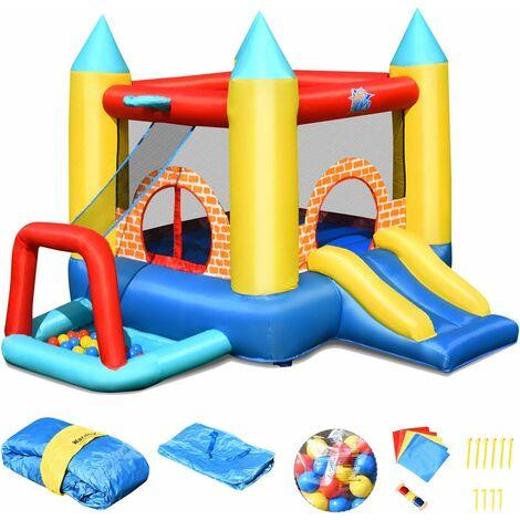 COSTWAY 4 en 1 Aire de Jeux Gonflable pour 3 Enfants 3-10 Ans avec Toboggan,30 Ballons 300x280x210CM Charge Max 135KG Extérieur