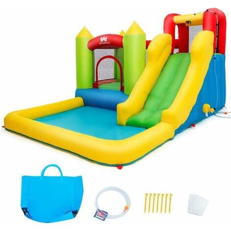 COSTWAY Ch?teau Gonflable pour 3 Enfants 3-10 Ans avec Aires de Jeux Multiples et Kit de Réparation Charge Max 135KG Extérieur Souffleur Non-inclus