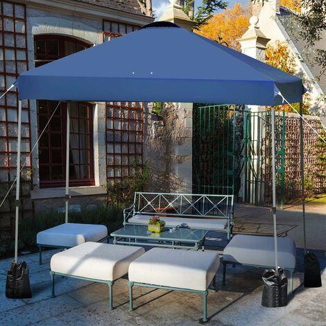 COSTWAY 3 x 3M Tonnelle de Jardin Imperméable Tube en Fer Tente Réception Pliante avec Piquet de Terre,4 Sacs de Sable pour Jardin,Fête,Camping (Bleu)