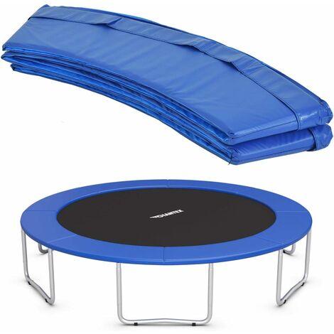 COSTWAY Coussin de Protection de Ressort pour Trampoline Ø 427 CM Pliable Bleu avec 12 Bandes Elastiques en PVC+EPE
