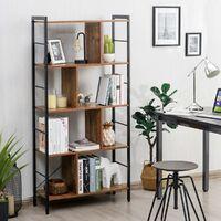 COSTWAY Bibliothèque à 5 Niveaux Style Industriel Etagère de Rangement 74x30x155cm Montage Facile Idéal pour Salon, Bureau, Salle
