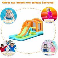 COSTWAY Aire de Jeux Gonflable Enfants avec Toboggan Aquatique-Aire de Saut-Conception Pliable Charge Max 90KG Souffleur Non-inclus