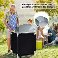 COSTWAY Meuble de Camping de Rangement en Polyester avec Protection Anti-Eclaboussures 2 Compartiments Cadre en Aluminium 88x64x117c