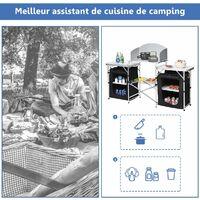 COSTWAY Cuisine de Camping avec Etagère de Rangement, Cuisine d'Extérieur, Idéal pour Soirée, Pique-nique, Festival etc.