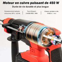 COSTWAY Marteau Perforateur Electrique SDS-Plus à Vitesse Réglable (960 tr/min, 4,260coups/min) avec 3 Forets Robustes, 1 Coffret de Rangement, 1 Batterie et Chargeur Lithium-Ion