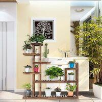 COSTWAY Etagère à Fleurs en Bois à 7 Niveaux Durable et Stable 120X25X120cm