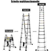 COSTWAY Echelle Télescopique 5M en Aluminium avec 16 Echelons Charge Max 150KG Réglable 90-500CM