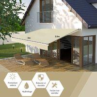 COSTWAY Store Banne de Balcon Rétractable 3,6 X 3M avec Tissu Résistant aux UV et à l'Eau, Cadre en Aluminium Angle Réglable 5-35°