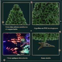 COSTWAY Sapin de Noël Artificiel Lumières LED 120 CMArbre de Noël avec Pied en Plastique Matériau PVC pour Décoration de Noël Vert 90/120/150/180 CM