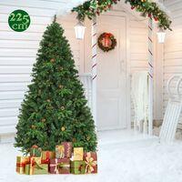 COSTWAY Sapin de Noël Arbre de Noël Artificiel avec Lumières LED et Pied en Métal Matériau PVC et PE pour Décoration de Noël 225CM
