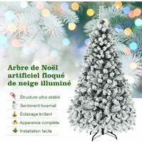 COSTWAY Arbre de Noël Artificiel 180 CM avec 250 LED, 600 Branches, Matériel PVC Sapin de Noël avec Socle en Métal Décoration de Noël