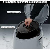 COSTWAY Toilette Portable pour Camping Extérieure avec Seau Intérieur 5L et Porte-papier de Toilette Amovible en PP Charge 200KG