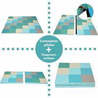 COSTWAY Tapis de Sol Puzzles Pliable en Mousse Double Face en 2 Sections 147x147x3CM Multicolore Non Toxique Antidérapant