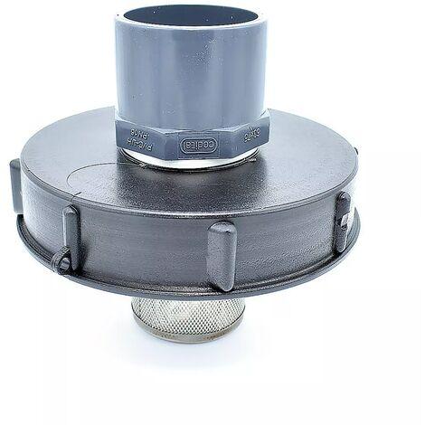 Couvercle 15cm pour cuve 1000L avec entrée PVC 63/75 et filtre 2 pouces