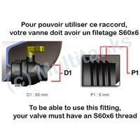 Raccord femelle S60x6 laiton - robinet laiton chromé 1 pouce - 1'' BSP
