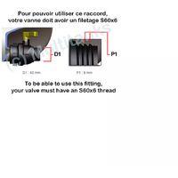 Raccord femelle S60x6 laiton - robinet laiton chromé 3/4 pouce avec raccord rapide laiton - 3/4'' BSP