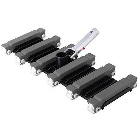 Balai aspirateur, 12 Roues,forme rectangulaire, couleur noir, pour Piscine béton - 48 cm