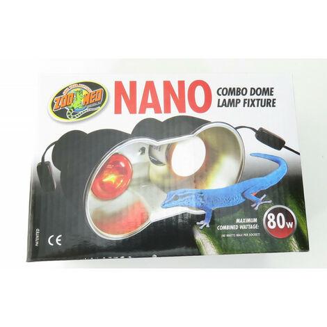 support de lampe double nano LF-36E combo dome 80 w max total pour terrarium
