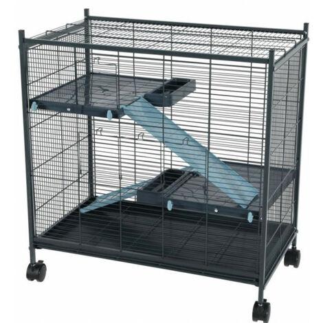 Cage indoor 2 mini loft couleur bleu. 67.5 x 39 x 58 cm. pour les petits mammifères