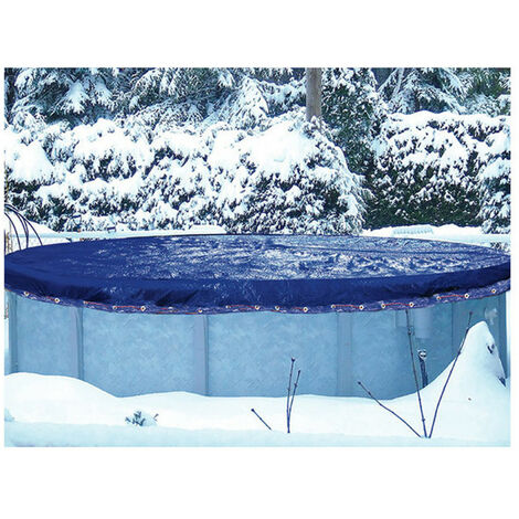 Couverture hivernage piscine hors-sol 8.60 x 5.70 m pour bassin 7.60 x 4.70 m
