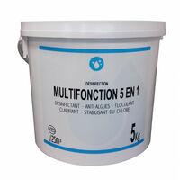 Chlore multifonction 5 en 1 - galet de 250 gr - sceau de 5 kg.