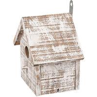 Nichoir pour oiseaux GOOS en bois . 15.5 x 11 x 16 cm. blanc /brun.