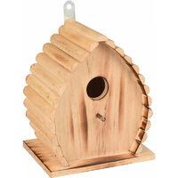 Nichoir pour oiseaux GIVAN . 16 x 12.5 x 19.5 cm. en bois flammé nature