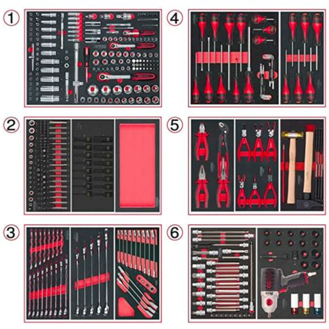 Outils pour servante - 6 compositions - 429 outils (714.0425) - KS TOOLS
