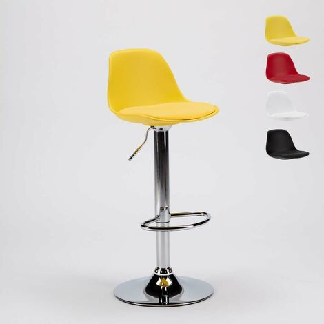 NEW ORLEANS Pub & Kitchen Counter Design Stool With Eco Leather Padding   Yellow