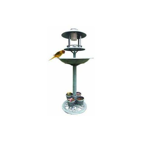 Mauk Garten Vogelbad Futterstation Vogeltränke mit LED Solarlampe Solar Leuchte