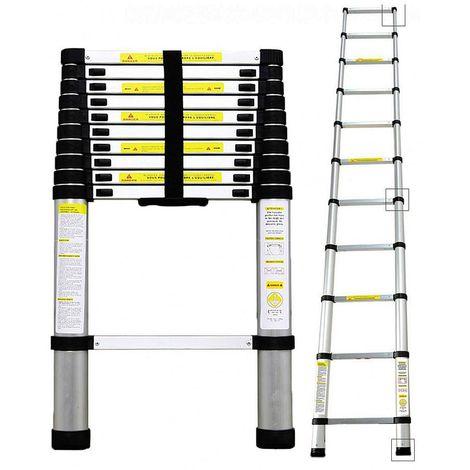 Teleskopleiter 3.8m 1.9m+1.9m Maximale Belastbarkeit 150kg Klappleiter Stehleiter Rutschfester Mehrzweckleiter Leiter Platzsparend Leicht Zu Tragen