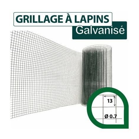 Grillage Soudé Vert - Maille Carrée 13mm - Longueur 25m - 0,5 mètre