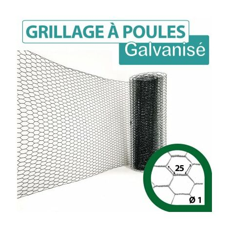 Grillage Triple Torsion Vert - Maille Hexa 25mm - Longueur 10m - 1 m