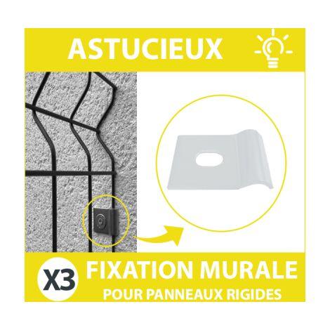 Fixation Murale Blanche Panneau Grillage Rigide - Lot de 3