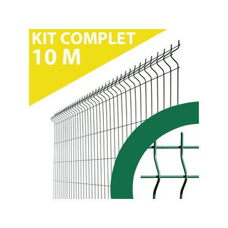 Kit Grillage Rigide Vert 10M - JARDIMALIN - Fil 4mm - 1,23 mètre