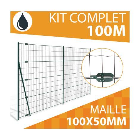 Kit Grillage Soudé Gris 100M - JARDIPREMIUM - Maille 100x50mm - 1,50 mètre