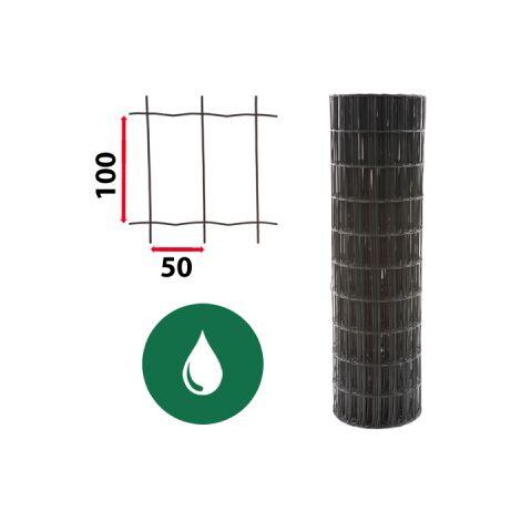 Kit Grillage Soudé Vert 25M - JARDIPREMIUM - Maille 100x50mm - 1,80 mètre