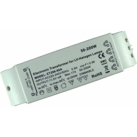 Transformateur Electronique 50-200W - 12v - Pour ampoules halogènes