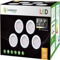 10 SPOTS LED DIMMABLE SANS VARIATEUR 7W eq.56w BLANC NEUTRE FINITION BLANC