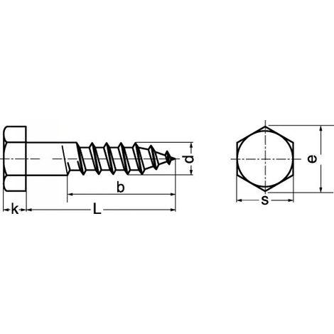 Vis à bois têtes hexagonales, 'tire-fond', A2. M5X25