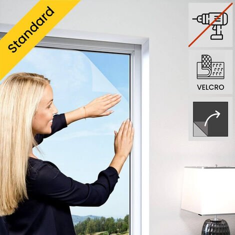 Moustiquaire de fenetre auto-agrippante elastique Blanc - Blanc