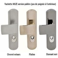 Poignée de porte blindée design Vachette MUZE Platine 195 - Doré