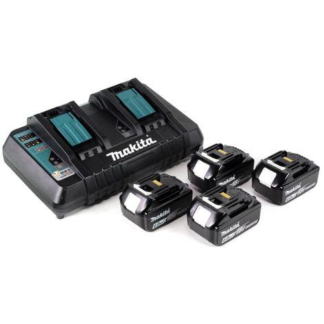 Makita DHR 281 PG4J Brushless Perforateur burineur sans fil 28 mm 2 x 18 V pour SDS-PLUS + Mandrin auto-serrant interchangeable + Coffret MakPac + 4 x Batteries 6,0 Ah + Chargeur double